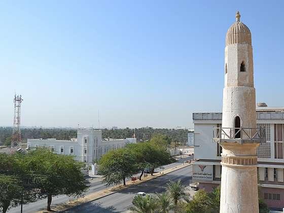 Jeden ze 2 minaretů bahrajnské mešity Al Khamis.